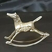 """Vintage Brass Rocking Horse Figurine 3"""" Tall Preowned"""