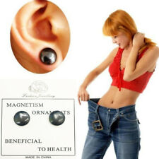 Unisex Magnetic Therapy Hematite Earrings Weight Loss Ear Studs Jewelry Gift