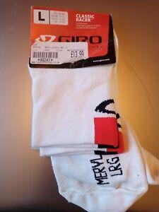 Giro Meryl Skinlife Ankle Socks Cycling WHITE LARGE (43-45, 9-10) NEW OLD STOCK