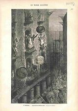A londres (London) de Gustave Doré ANTIQUE PRINT GRAVURE 1883