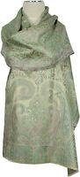 Schal 100% Seide, silk stole scarf Foulard écharpe soie  Hellgrün light green