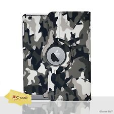 360° Camouflage Case/Cover For Apple iPad 2/3/4 / Rotating / PU Leather / Grey