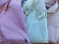 NWT Ralph Lauren GREEN/DARK GREEN/PURPLE Poplin Pinstriped LS Shirt BIG and Tall