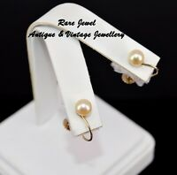 VINTAGE 9CT GOLD WHITE CULTURED PEARL EARRINGS SCREW BACKS HALLMARKED