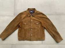 Vintage Polo Ralph Lauren Mens L Trucker Jacket Leather Distressed Oil Suede