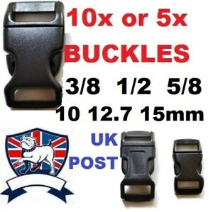 CONTOURED QUICK RELEASE BUCKLE CLIP 10mm 3/8 12mm 1/2 15mm 5/8 PARACORD BRACELET