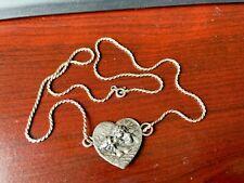 Vintage Sterling Heart Pendant Mother Child Mourners on 925 Necklace