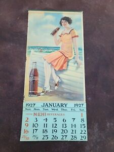 Rare Vintage Original 1927 RC Royal Crown Cola Nehi Litho Soda Sign Calendar
