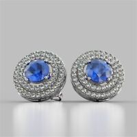Gorgeous 3.25 Cts Natural Diamonds Blue Sapphire Halo Stud Earrings In 14K Gold