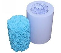 3D Rose Flower Cylinder Candle Mold Soap Mould Flexible Silicone Handmade Mold