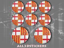 8 x Pegatinas Redondas 3D Relieve Bandera Barcelona Ciudad - Todas las Banderas