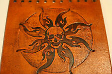 Custom Heavy Duty Light Brown Leather Motorcycle Grip Covers Skull & Flames