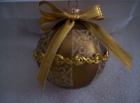 Silvestri Christmas Ornaments Beautiful Gold Color/ Gold Braided Design 4 In Box