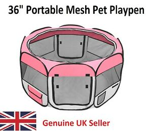 Pink Portable Foldable Oxford Cloth & Mesh Pet Playpen Fence with 8 Panels - UK
