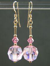 Vintage 1950s Faceted Pink AB Crystal, Swarovski & 14K Rolled Gold Drop Earrings