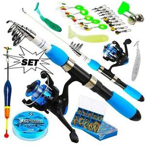 Fishing Rod Full Kits Telescopic Spinning Reel Baits Hooks Saltwater Freshwater