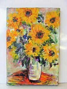 "folk art outsider SUNFLOWERS acrylic painting  MINI canvas 4"" x 6"" orig. signed"