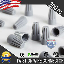 (200) Gray Twist-On Wire GARD Connector Conical nuts 22-16 Gauge Barrel Screw US