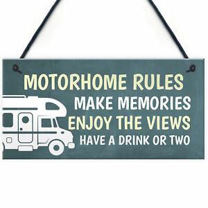 Motorhome Rules Sign Hanging Door Plaque Motorhome Caravan Accessories