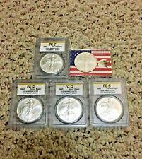 5-Silver American Eagles 1 oz MS 65+ GEM BU PCGS Slabbed Uncirculated USA .999