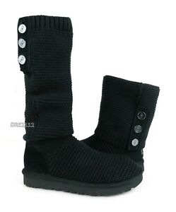 UGG Purl Cardy Knit Black Knit Fur Boots Womens Size 10 *NEW*