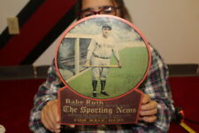 Vintage 1930's  Babe Ruth The Sporting News Baseball Newspaper Gas Oil Sign