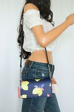 Kate Spade Cameron Lemon Zest Small PVC Saffiano Flap Crossbody Bag Blue Multi
