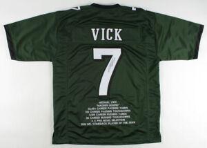 Michael Vick Signed Philadelphia Eagles Career Highlight Stat Jersey (JSA COA)QB