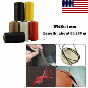65/260M 150D 1MM Leather Sewing Waxed Thread Hand Wax Stitching Repair Cord US