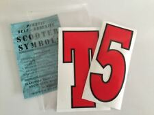 Vespa T5 Red Legshield Flyscreen Graphic Decals 60's Style