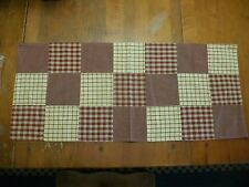 "PRIMITIVE COUNTRY PATCHWORK TABLE RUNNER MUSTARD/BURGUNDY 14"" X 33"""