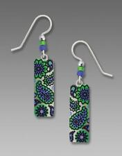 Adajio Earrings Sterling Hook Column Emerald & Periwinkle 70's Style Paisley