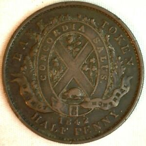 1842 Canada Bank Note Half Penny 1/2 Cent Bank of Montreal VF Very Fine