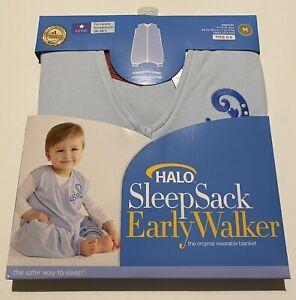 Halo Sleepsack Early Walker Blue - 0.5 Tog Medium 6-12 Months 100% Cotton NEW