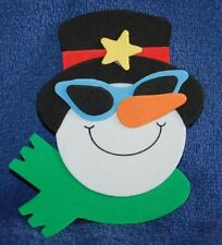 Smiling Snowman with Glasses and Hat, Foam Refrigerator Magnet, Made in the USA