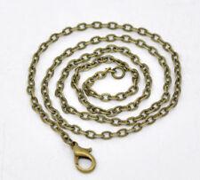Wholesale 12 of 30 inch antique bronze flat link necklace chain-9657D
