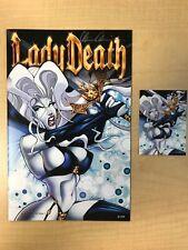 Lady Death Sketch Card All Stars #1 Axebone Variant w/ 5finity Card Signed /99