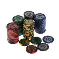 100pcs Classic Wheat Style Poker Chips Set w/ Box Casino Supply Family Games