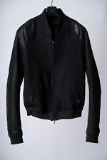 MA_Julius AW14 Black Leather Sleeve, Wool-Linen Melton Bomber Jacket size 2