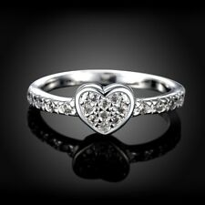 Ladies Beautiful Cubic Zircon 925 Sterling Silver Engagement Gift Ring Size O-Q