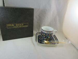 Takahashi Silk Road SF Ceramic Cup/Mug Saucer and Gold Spoon 1983