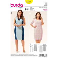 Burda Sewing Pattern 6676 Misses Fitted Jersey Panel Dress Optional Overlay