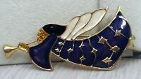 Vintage Glittery Gold Deep Purple Enamel Angel Blowing Horn Christmas Pin Brooch