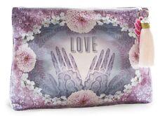 Henna Love Purple Large Accessory Bag Clutch Handbag Tassel Papaya Art Pouch