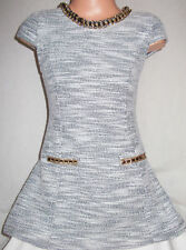GIRLSCLASSIC GREY WHITE MARBLE PRINT SLUB KNIT GOLD NECKLACE TRIM DRESS age 3-4