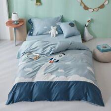 Egyptian Cotton Bedlinen Cartoon Embroidery Duvet Cover Bedsheet Pillowcase Set