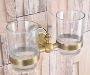 Antique Brass Toothbrush Holder Double Glass Cups Holder Wall Mounted aba583
