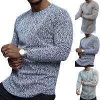 Herren Langarm T-Shirt Rundhals Gestreift Freizeit Pullover Pulli Sweatshirt Top