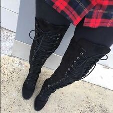 Black ULTRA-SUEDE Lace Up thigh high Over the knee OTK boots Size 6.5