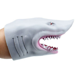 Stretchy Hand Puppet Soft Rubber Shark Glove Baby Kids Water Swimming Toy Gift